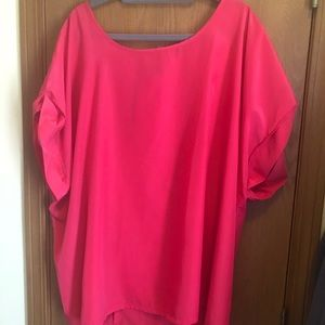 Gray hot pink blouse with zipper back detail